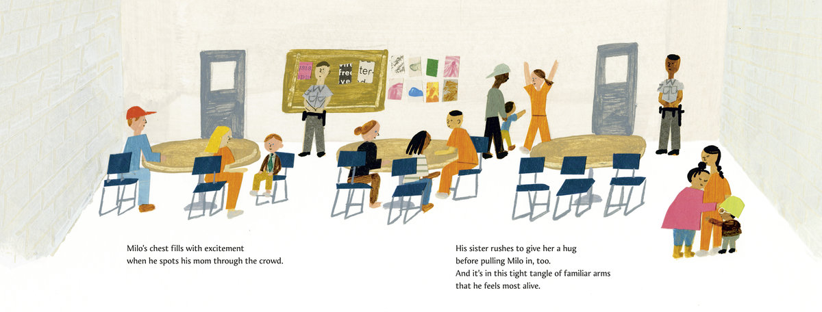 """Milo Imagines the World"" by author Matt de la Peña and illustrator Christian Robinson. Scene shows Milo and his sister visiting their incarcerated mother."
