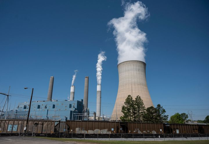 Steam rises from the Miller coal Power Plant in Adamsville, Alabama on April 13, 2021. The James H. Miller Jr. site faces no